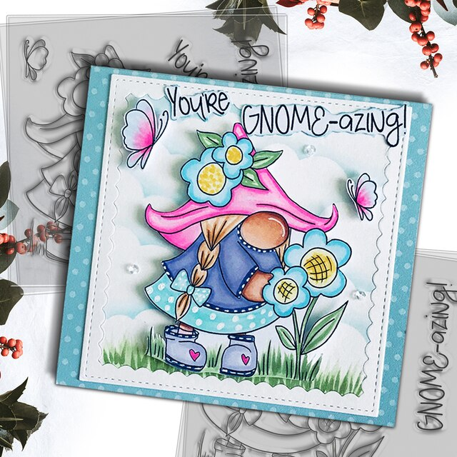 Polkadoodles You're Gnome-azing clear stamp set