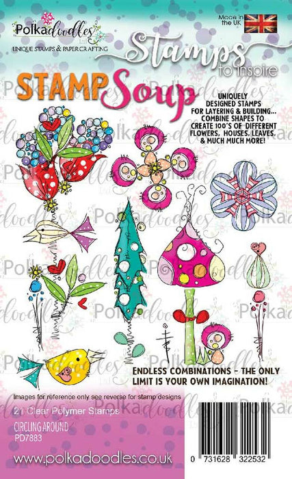 Polkadoodles Circling Around Stamp Soup Clear Stamp Set