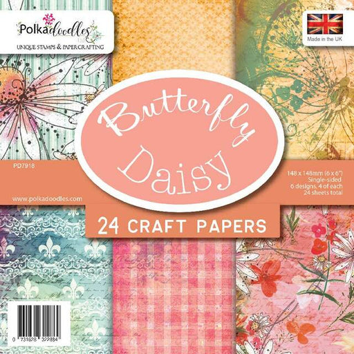Polkadoodles Butterfly Daisy 6 x 6 Paper Pack