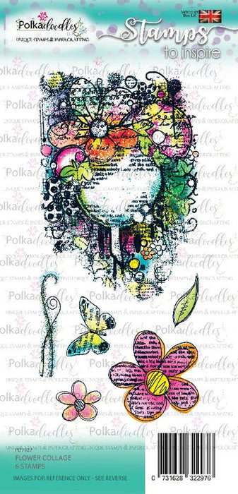 Polkadoodles Flower Collage Clear Stamp Set