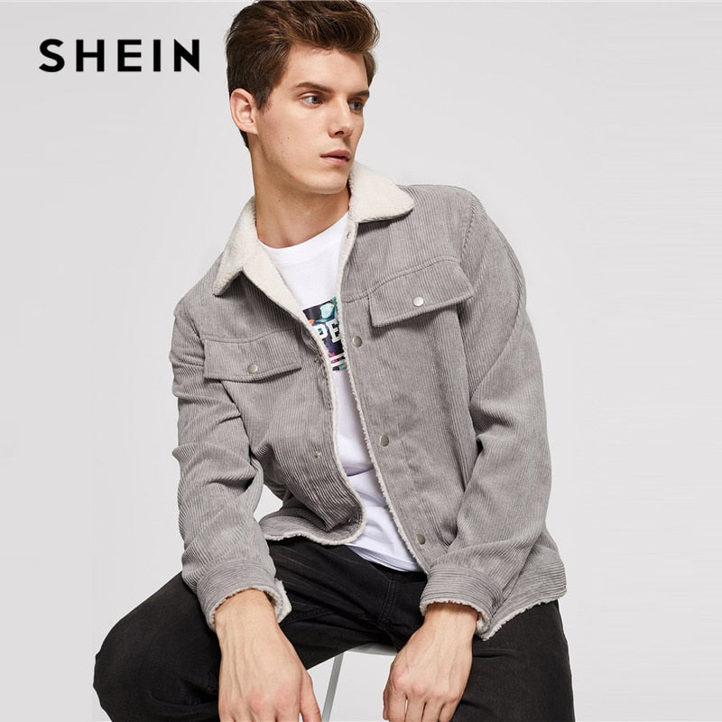 f87cd4d37e SHEIN Men Grey Casual Button Up Corduroy Solid Single Breasted Stand Collar  Jacket 2018 Autumn Winter .