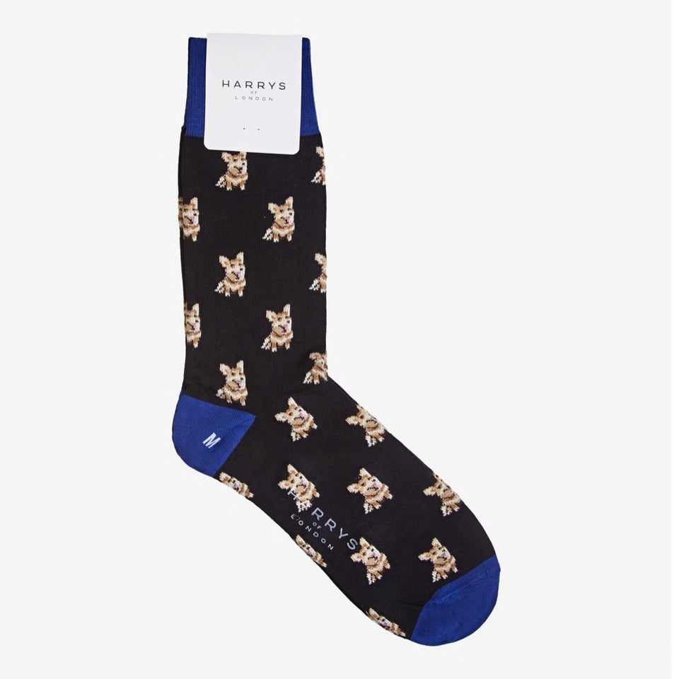 Corgi Sock Cotton Black