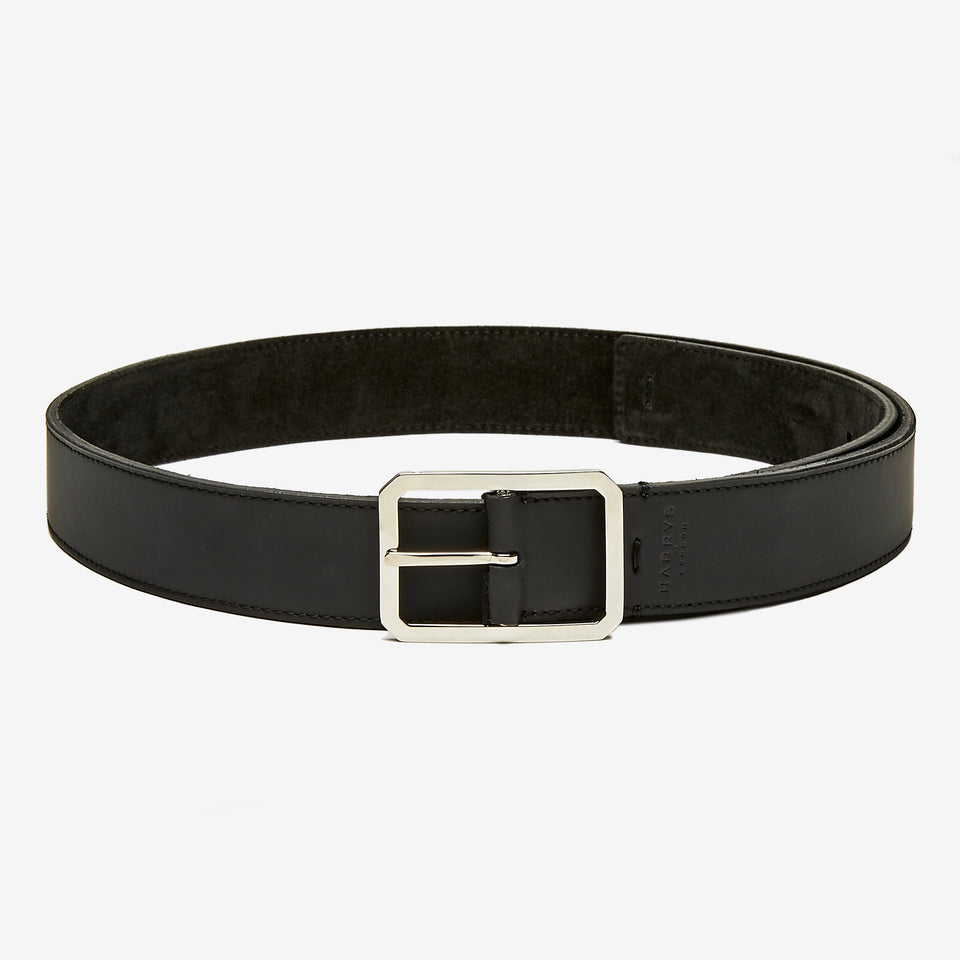 3.5cm Tech Leather/Suede Reversible Belt Black