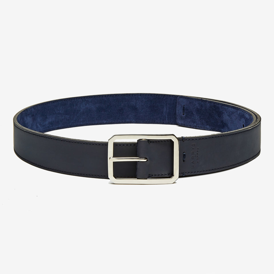 3.5cm Tech Leather/Suede Reversible Belt Navy