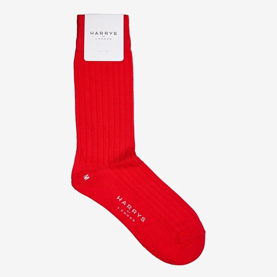 Ribbed Sock Cotton Red