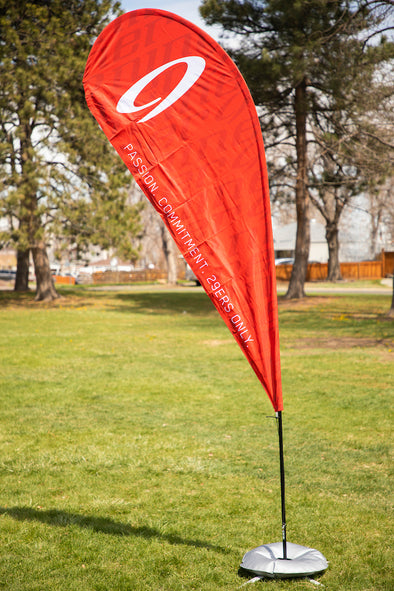 Niner Event Flag & Stand 8 ft. - White/Red
