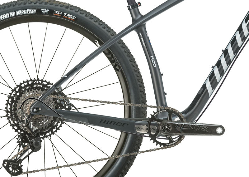 Close up on the back wheel of the AIR 9 RDO mountain bike.