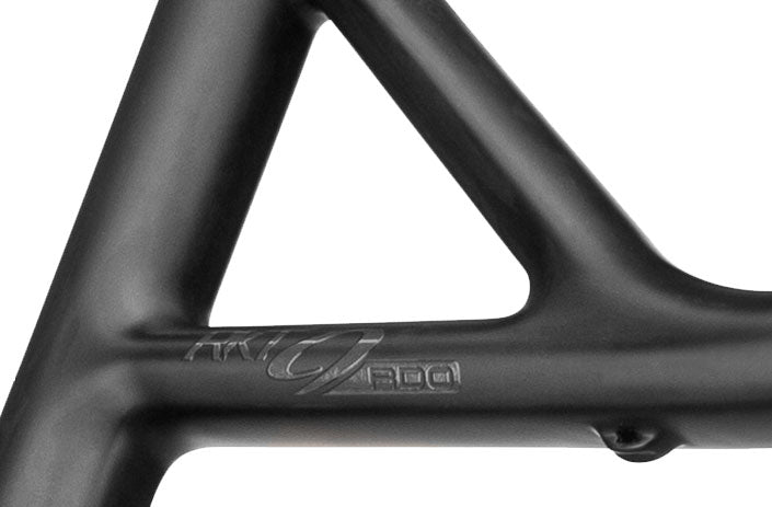 Close up on the frame of the RKT 9 RDO RS mountain bike