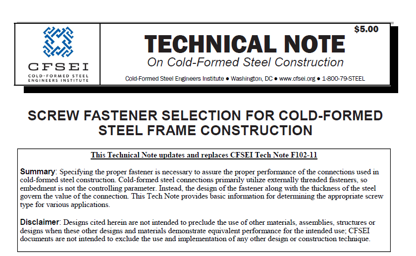 TN-F102-21 - Screw Fastener Selection for Cold-Formed Steel Frame Construction