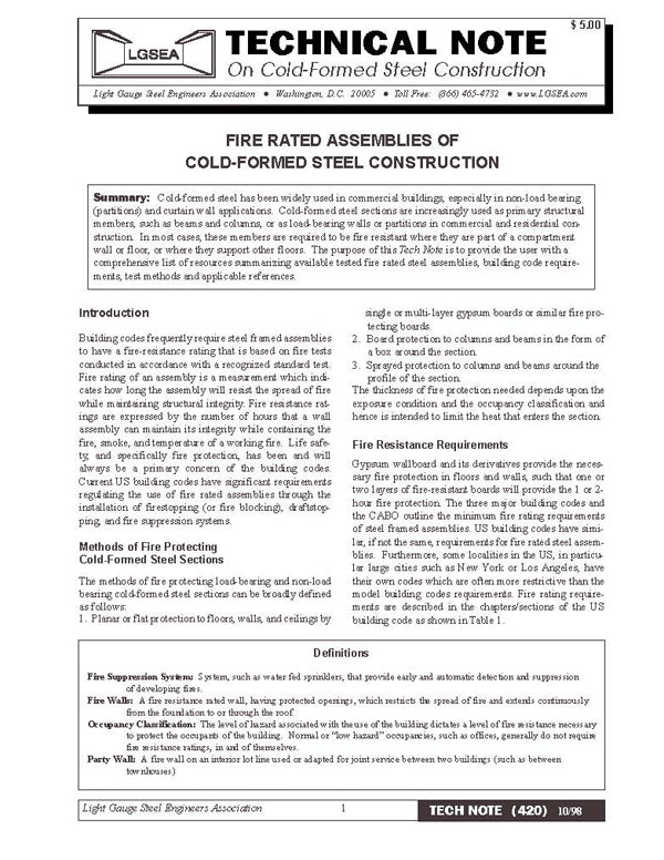 TN-420: Fire-Rated Assemblies for Cold-Formed Steel Construction