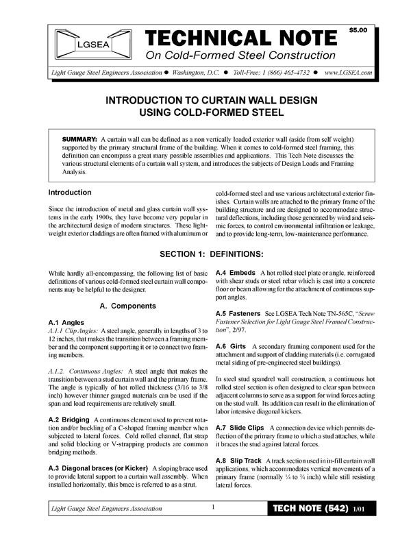 TN-542: Introduction to Curtain Wall Design Using Cold-Formed Steel