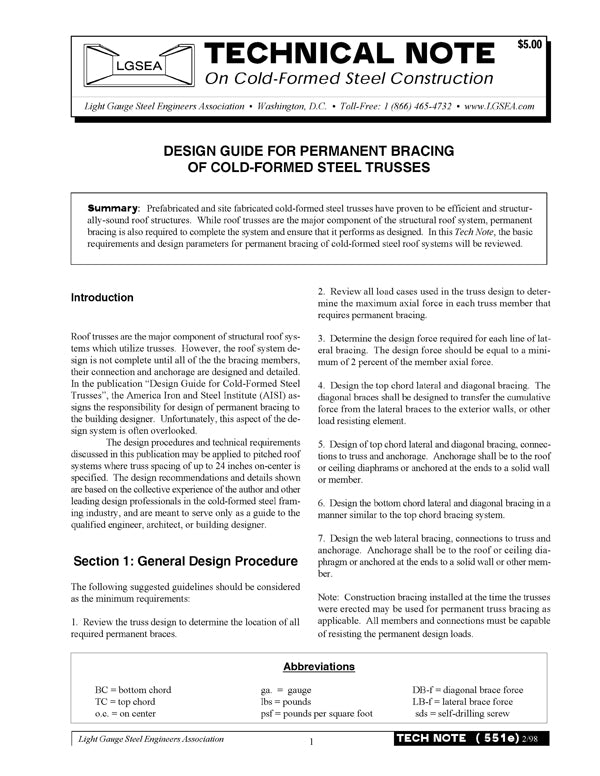TN-551e: Design Guide: Permanent Bracing of Cold-Formed Steel Trusses