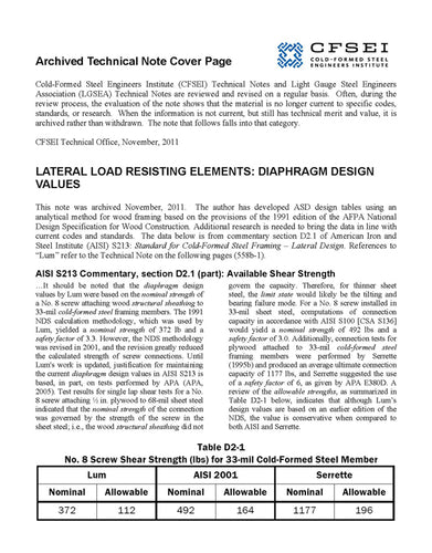 TN-558b-1: Lateral Load Resisting Elements:  Diaphragm Design Values