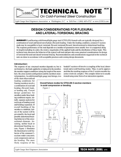 TN-559: Design Considerations for Flexural and Lateral-Torsional Bracing