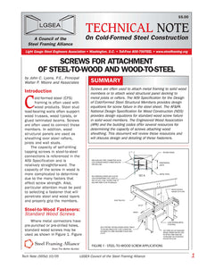 TN-565d: Screws for Attachment of Steel-To-Wood and Wood-Steel