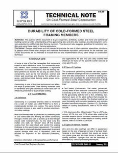 TN-D001-13: Durability of Cold-Formed Steel Framing Members
