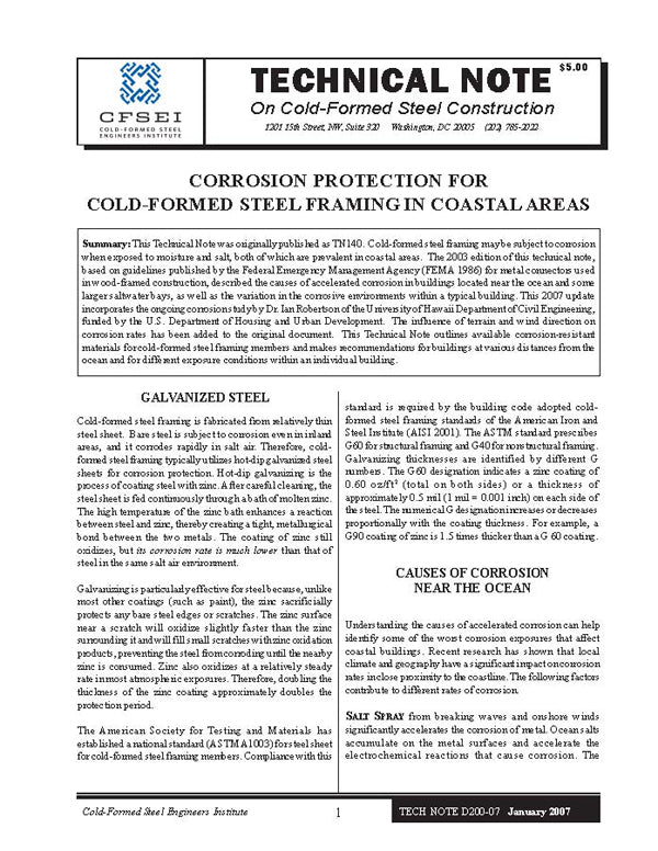 TN-D200-07: Corrosion Protection for Cold-Formed Steel Framing in Coastal Areas