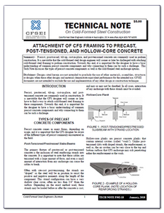 TN-F502-18: Attachment of CFS Framing to Precast, Post-Tensioned, and Hollow-Core Concrete