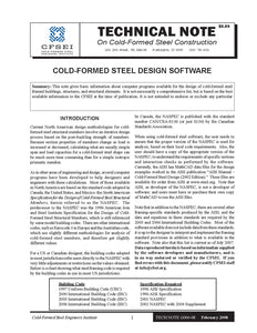 TN-G000-08: Cold-Formed Steel Design Software