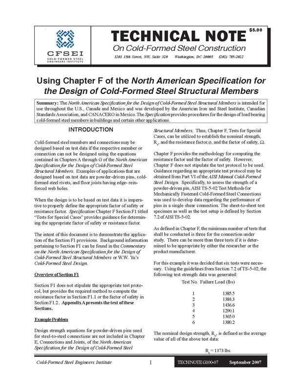 TN-G100-07: Using Chapter F of the North American Specification for the Design of Cold-Formed Steel Structural Members