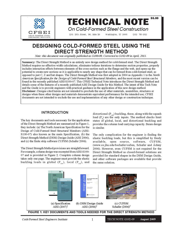 TN-G102-09: Designing Cold-Formed Steel using the Direct Strength Method
