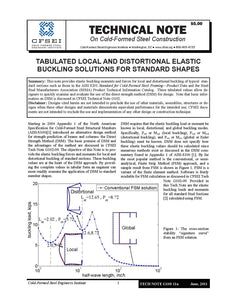 TN-G103-11a: Tabulated Local and Distortional Elastic Buckling Solutions for Standard Shapes