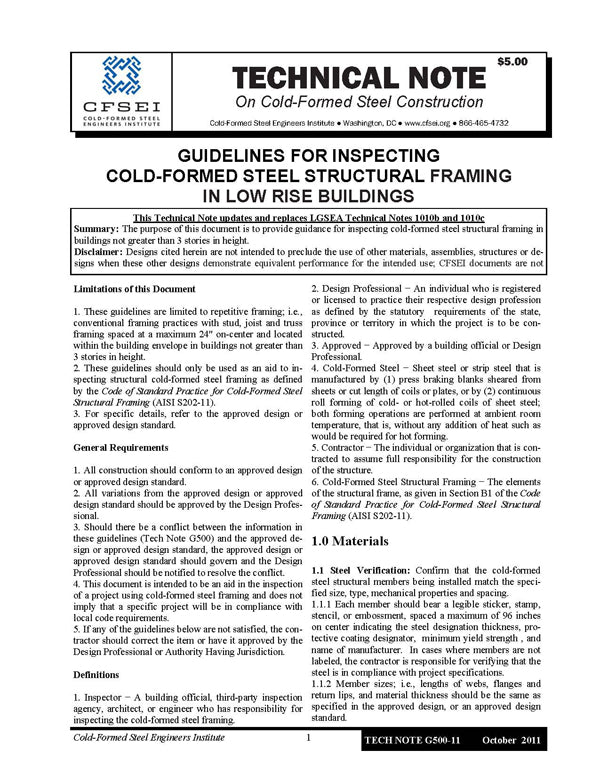 TN-G500-11: Guidelines for Inspecting Cold-Formed Steel Structural Framing in Low Rise Buildings