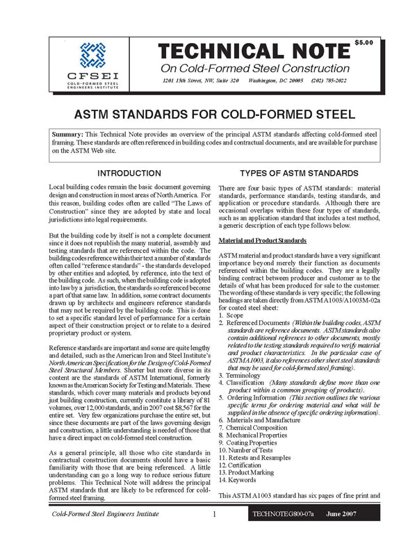 TN-G800-07a: ASTM Standards for Cold-Formed Steel