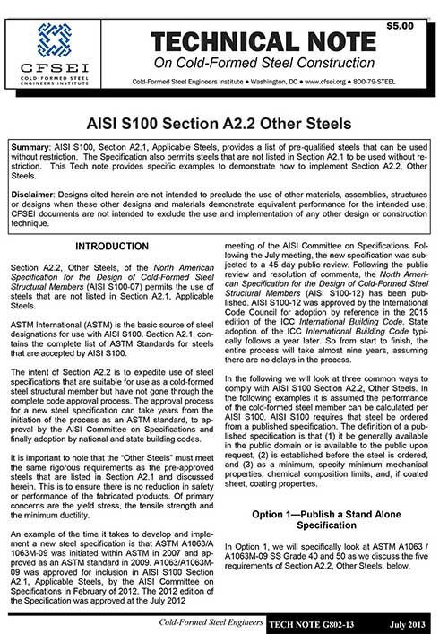 TN-G802-13 - AISI S100 Section A2.2, Other Steels