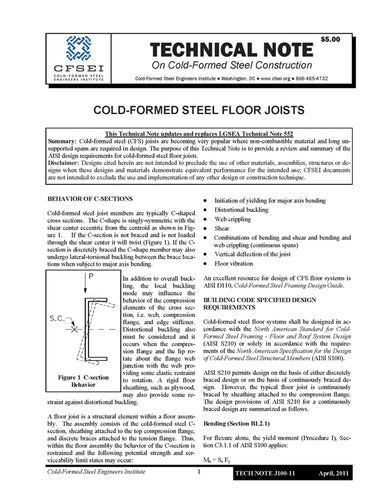 TN-J100-11: Cold-Formed Steel Floor Joists