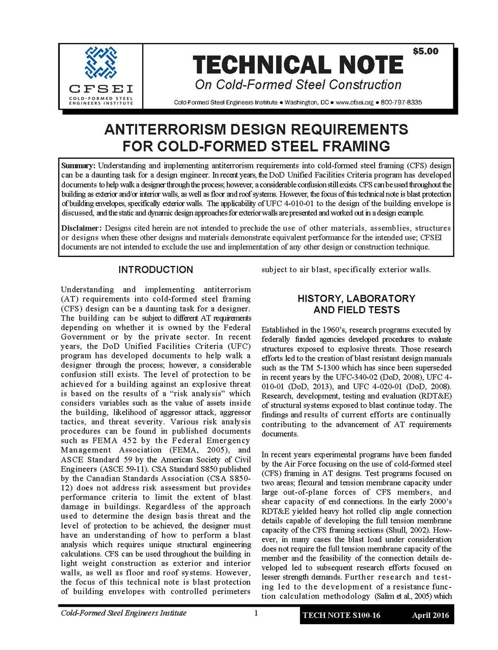 TN S100-16 – Antiterrorism Design Requirements for Cold-Formed Steel Framing