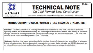 TN B004-20: Introduction to Cold-Formed Steel Framing Standards