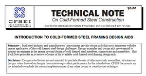 TN B005-20: Introduction to Cold-Formed Steel Framing Design Aids