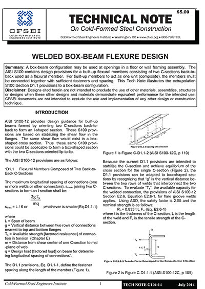 TN G104-14 - Welded Box-Beam Flexure Design