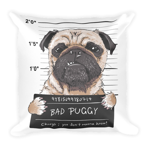 Angry-dog-pug-prisoner-graphic-illustration Basic Pillow