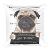 Angry-dog-pug-prisoner-graphic-illustration Basic Pillow - BlackKohco