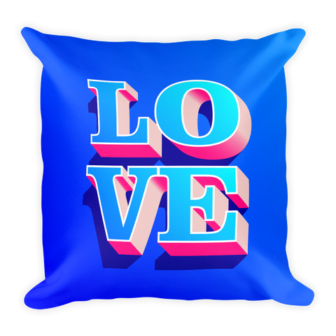 3d-pink-and-blue-love-text-for-valentine-theme Basic Pillow