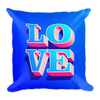 3d-pink-and-blue-love-text-for-valentine-theme Basic Pillow - BlackKohco