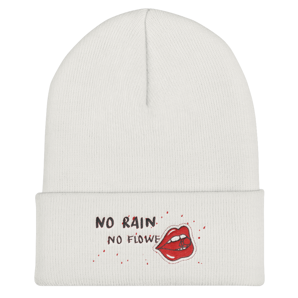 No Rain No Flowers Cuffed Beanie - BlackKohco