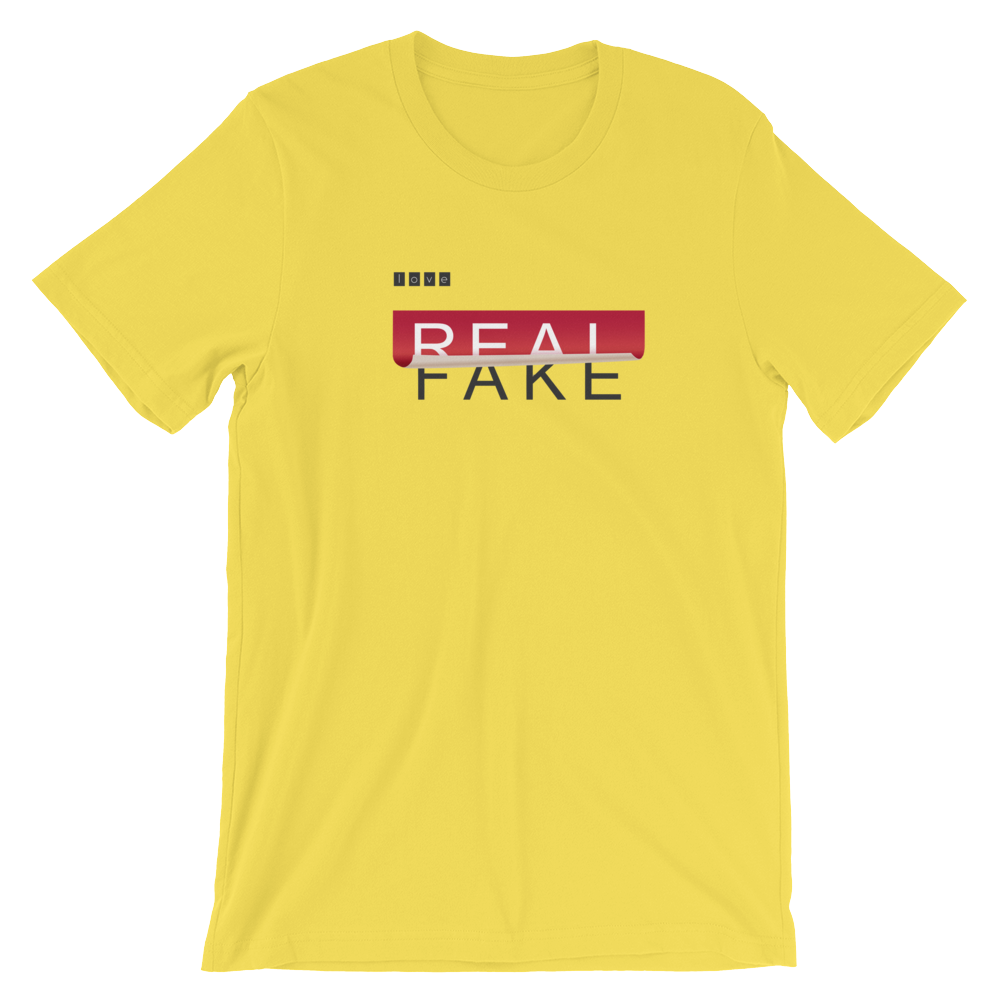Real-fake-sticker-peeled-off-illustration Short-Sleeve Unisex T-Shirt - BlackKohco