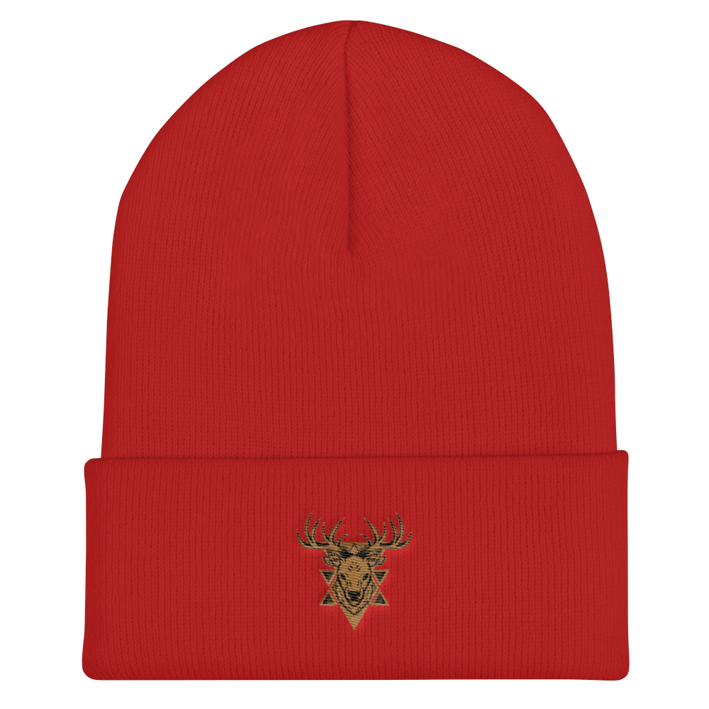 Deer Head Badge Vector Cuffed Beanie - BlackKohco