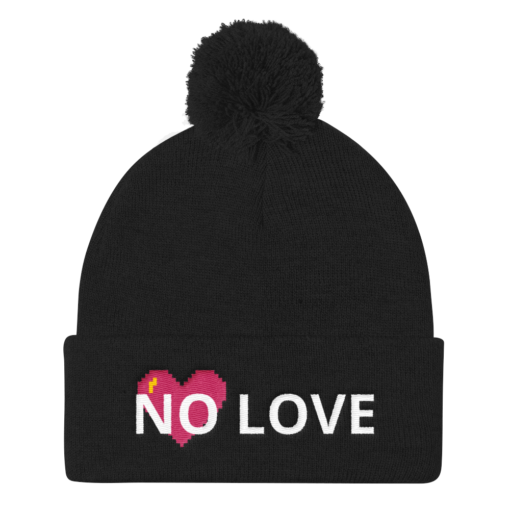 No Love Pom Pom Knit Cap - BlackKohco