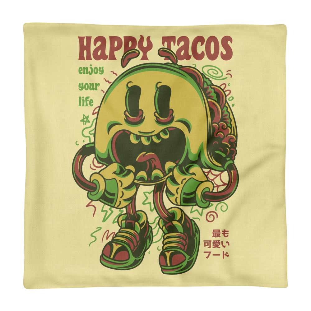 Happy Tacos Illustration Premium Pillow Case only - BlackKohco