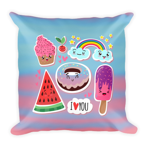 I love you cute stickers throw Basic Pillow