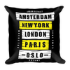 London Paris New York Basic Pillow - BlackKohco