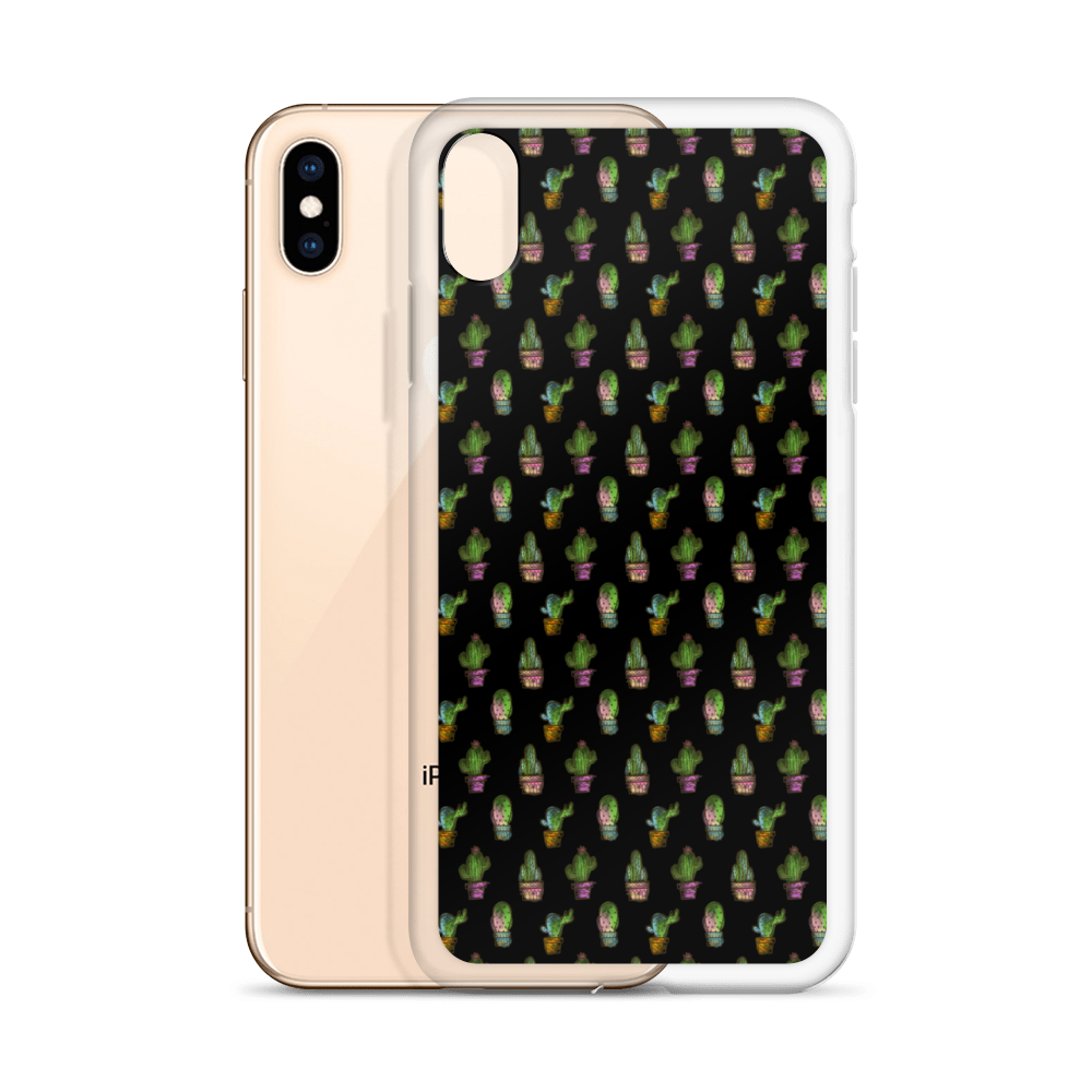 Cactus Pattern iPhone Case - BlackKohco
