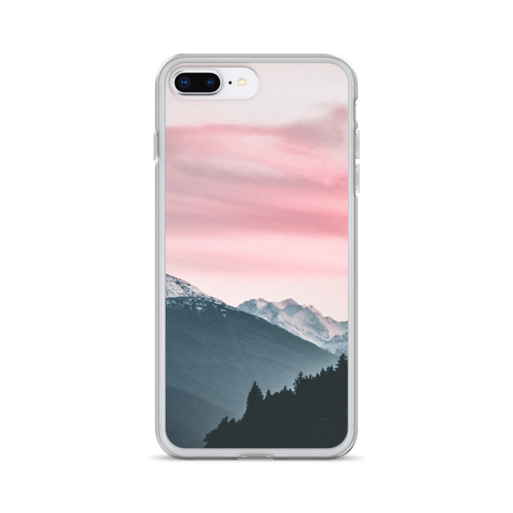 Pink Background Landscape Forest iPhone Case - BlackKohco