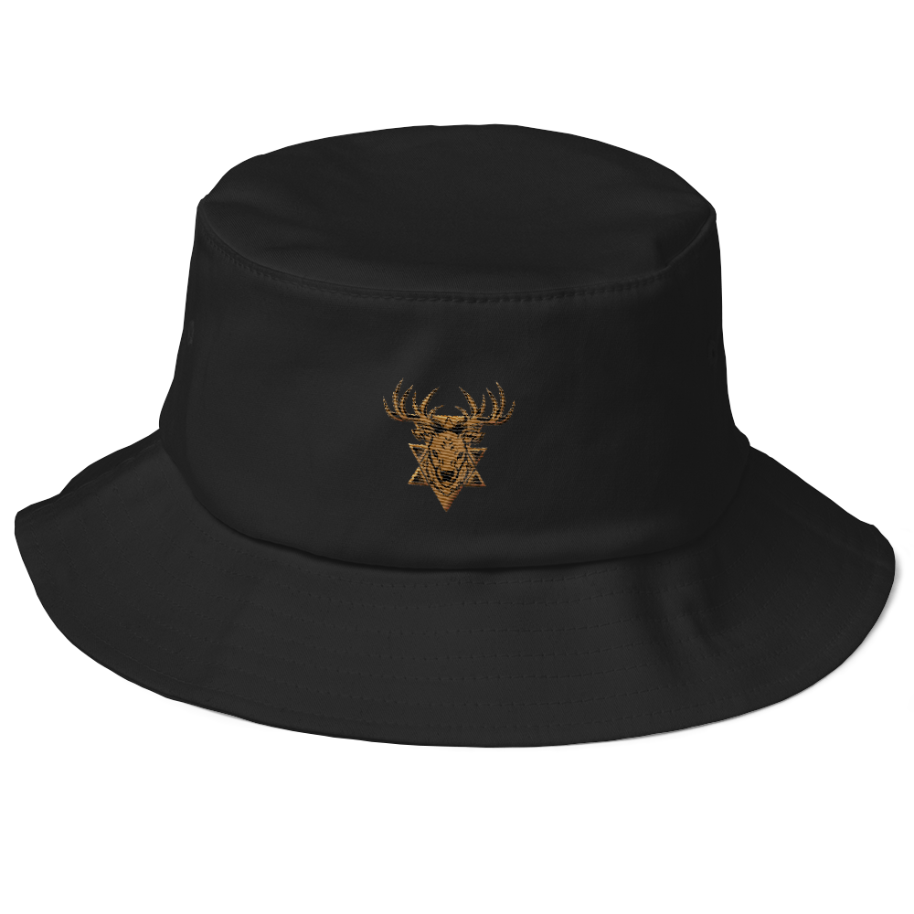 Deer Head Badge Vector Old School Bucket Hat