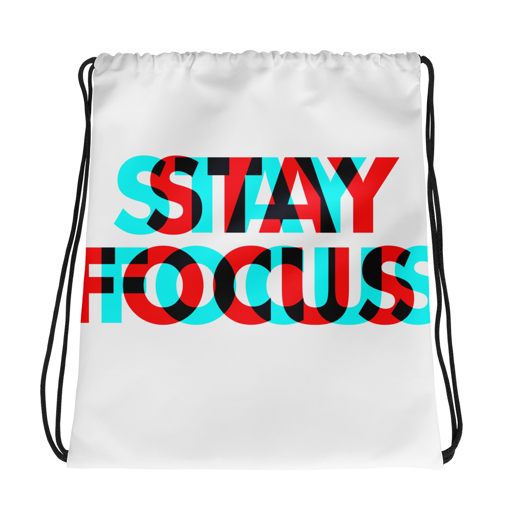 3D-Stay-Focus  Drawstring bag - BlackKohco