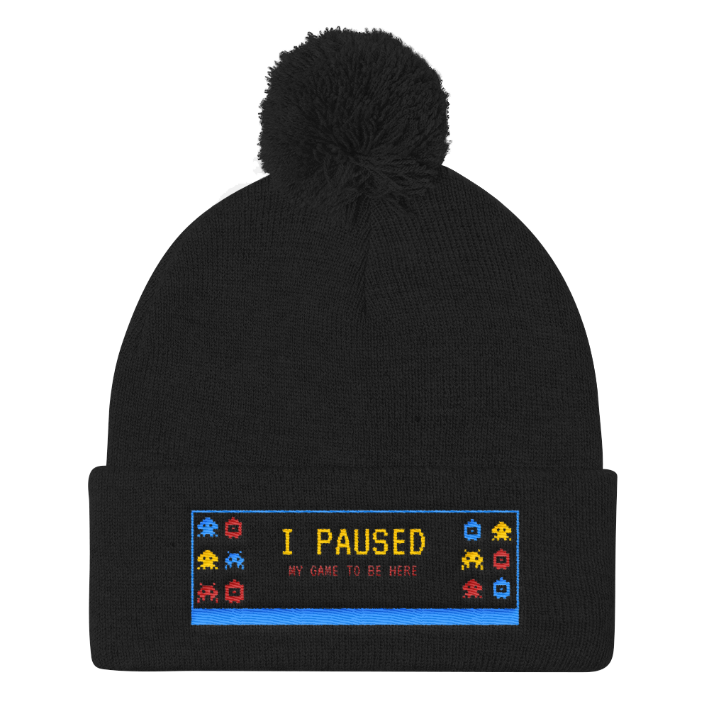 I paused My Game To Be Here Pom Pom Knit Cap